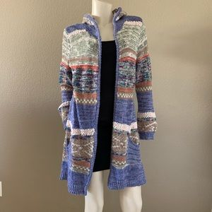 AMERICAN RAG striped hooded sweater cardigan C 24